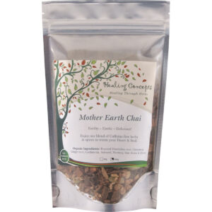 Mother Earth Chai. Earthy - Exotic - Delicious! Enjoy our blend of caffeine-free herbs & spices to warm your heart & soul. Organic ingredients: Roasted dandelion root, Cinnamon, Ginger root, Cardamom, Aniseed, Nutmeg, Star Anise, Cloves.